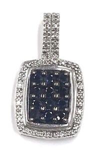 Sterling-Silver-Round-Blue-Sapphire-Pave-Diamond-Geometric-Halo-Cluster-Pendant