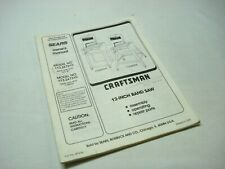 """1987 Craftsman 113.24350  12/"""" Band Saw//Sander Owners Manual Instructions"""