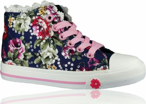 UK Girls Kids Flat Casual Shoes Canvas Lace Up Floral Glitter Pumps Plimsolls