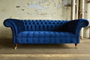 Image Is Loading Modern Handmade 3 Seater Plush Navy Blue Velvet