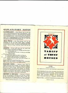 "Vintage ""tariff of Trust Houses"" 1938 Edition Booklet"