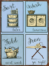 Laundry Blue Metal Sign, Humor, Home Decor, Modern Decor, Laundry Room Decor