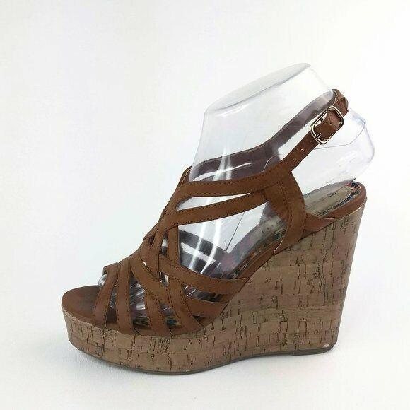 Dark brown high heel wedge strappy