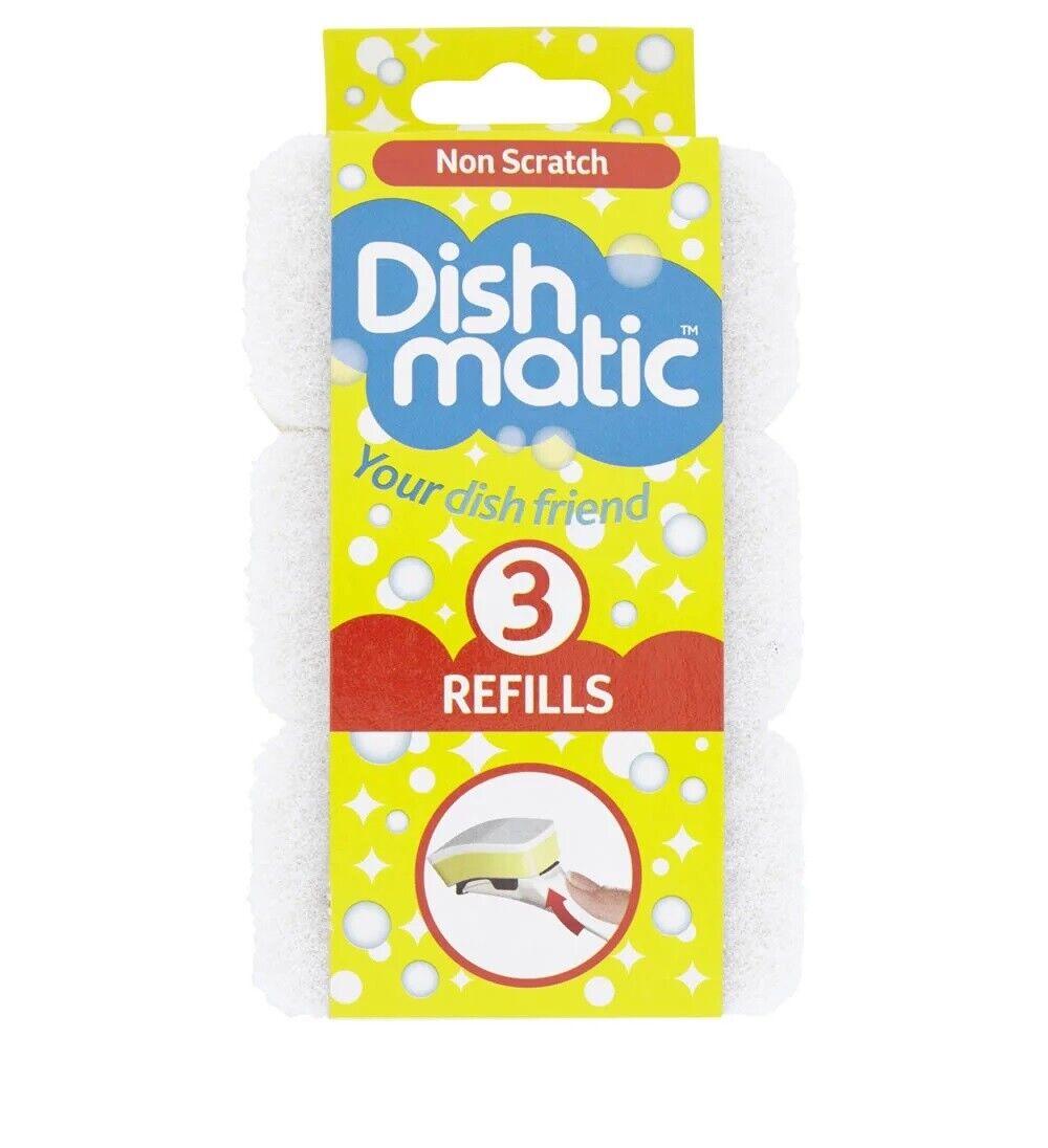 Dishmatic White Non Scratch Sponge Scourer 3 Pack Refill Replacement