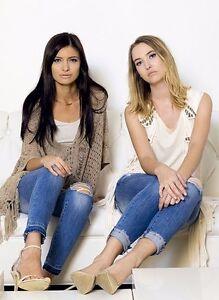 Machine-Jeans-Womens-Skinny-Denim-Destroyed-Distressed-Low-Rise-Ripped-Raw-Hem