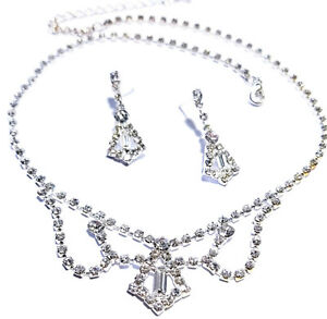 Rhinestone-Necklace-Choker-Earring-Set-Austrian-Crystal