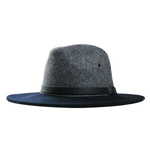 Wide Flat Brim Fedora Wool Napping Texture Leather Hat Band XL 7 1 2 ... a357e94abca2