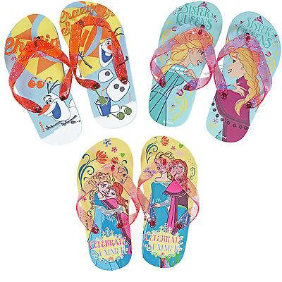 DISNEY GIRLS KIDS FLIP FLOP SANDALS  FROZEN ANNA ELSA Sz 5-6,7-8,9-10,11-12