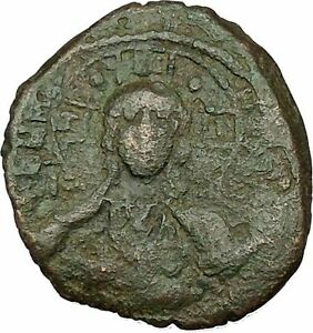 JESUS-CHRIST-Class-B-Anonymous-Ancient-1028AD-Byzantine-Follis-Coin-CROSS-i39772