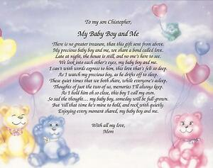 Details About Personalized Poem My Baby Boy And Me From Mommy Nursery Decor Keepsake Gift