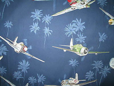 VINTAGE PLANE FIGHTER AIRPLANES FLY BLUE COTTON FABRIC 16 Inch Scrap Cut
