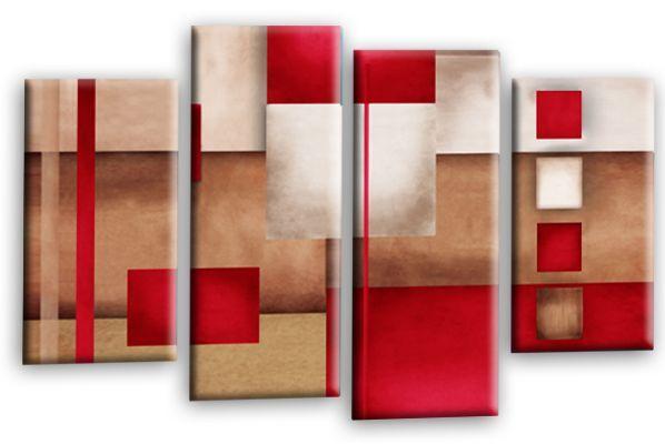Imagen grande de arte abstracto cuadrados beige beige beige rojo marrón cheques MULTI LONA 44  8f67c2