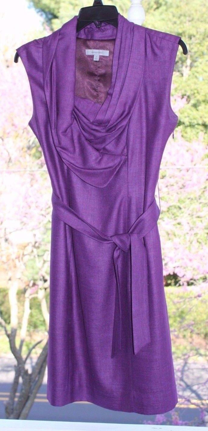 Gorgeous  Classiques Entier Purple Lined Dress sz 2 w  Tie Belt & Slit