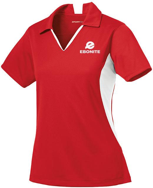 Ebonite Women's Champion Performance Polo Bowling Shirt Dri-Fit Red White