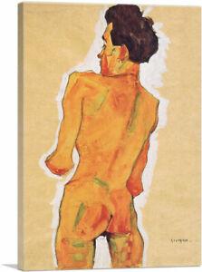 ARTCANVAS Stehender Mannlicher Ruckenakt 1910 Canvas Art Print by Egon Schiele