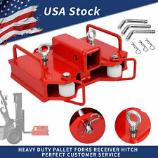 2 Dual Pallet Fork Forklift Towing Adapter Trailer Hitch Receiver Attachment