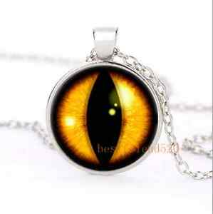 Details about Amber Dragons Eye Cabochon Glass Silver Plating Necklace Men  Woman Jewelry