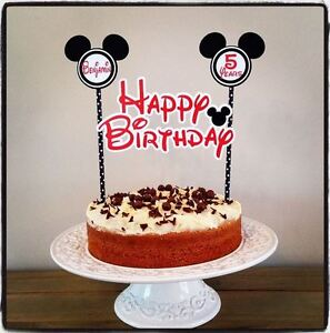 Astonishing Personalised Mickey Mouse Cake Bunting Banner Topper Decoration Birthday Cards Printable Opercafe Filternl