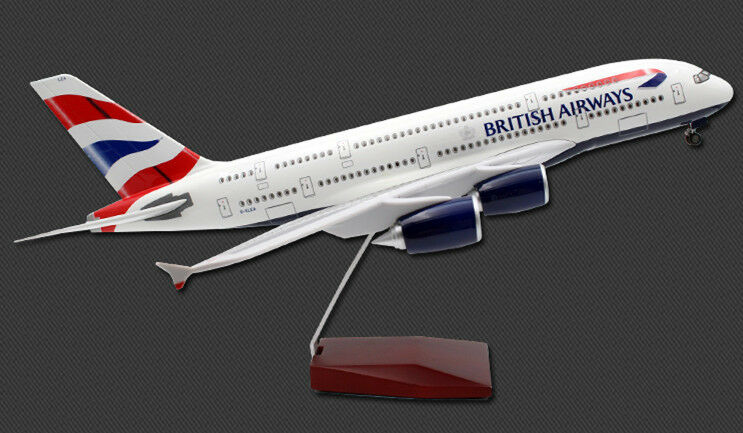 46CM 1 160 BRITISH AIRWAYS AIRBUS A380 Passenger Plane Landing gear Resin Model