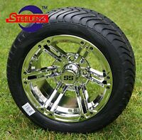 Golf Cart 12 Chrome Terminator Aluminum Wheels And 215/40-12 Low Profile Tires