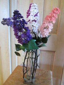 Vintage-Millinery-Flower-Lilacs-Single-or-5pc-Lot-Bouquet-Purple-White-Pink-Y308