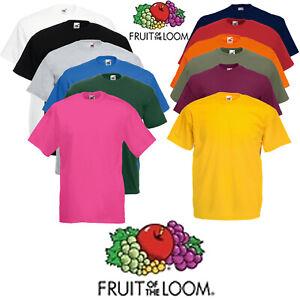 Mens-T-Shirt-Fruit-Of-The-Loom-100-Cotton-Plain-T-shirt-Tee-Shirts