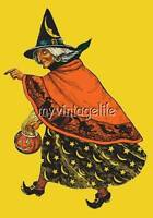 Vintage Halloween Old Witch With Pumpkin Quilting Fabric Block