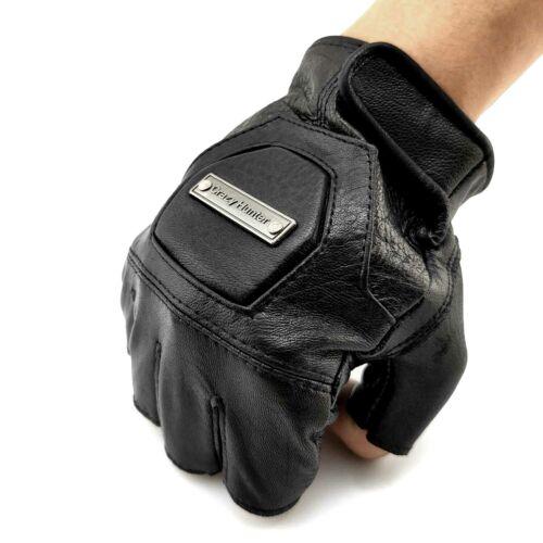 Biker Motorcycle Sheep Skin Leather Fingerless Gloves Mens Traning Sport Golves