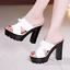Womens-Peep-Toe-High-Chunky-Heels-Platform-Slipper-Summer-Sandals-Mules-Shoes-GS miniatura 13