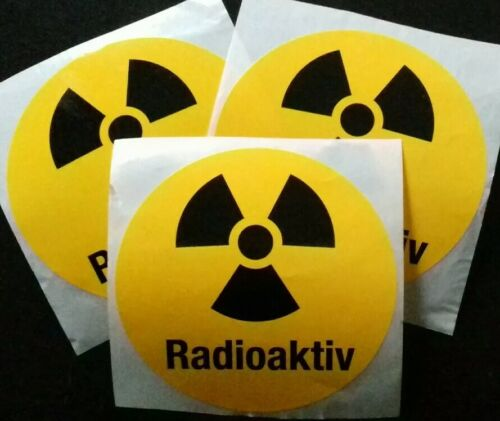 3 Stück Etiketten AUFKLEBER wetterfest Radioaktiv Rund Sticker Warnschild 10cm