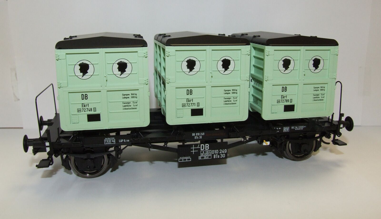 Brawa 37159 Escala 0 Vagón Transporte Contenedores Bts30 DB III negrokopf