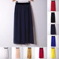 Women Two Layer Chiffon Pleated Retro Long Maxi Dress Elastic Waist Loose Skirt