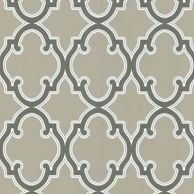 WALLPAPER BY THE YARD Trellis Geometric Wallpaper | Brown Lattice Sidewall | Tau