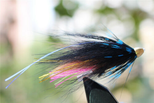 24 pcs Blue/&Black Feather Cone Head Tube Flies Salmon Trout Fly Fishing Flies