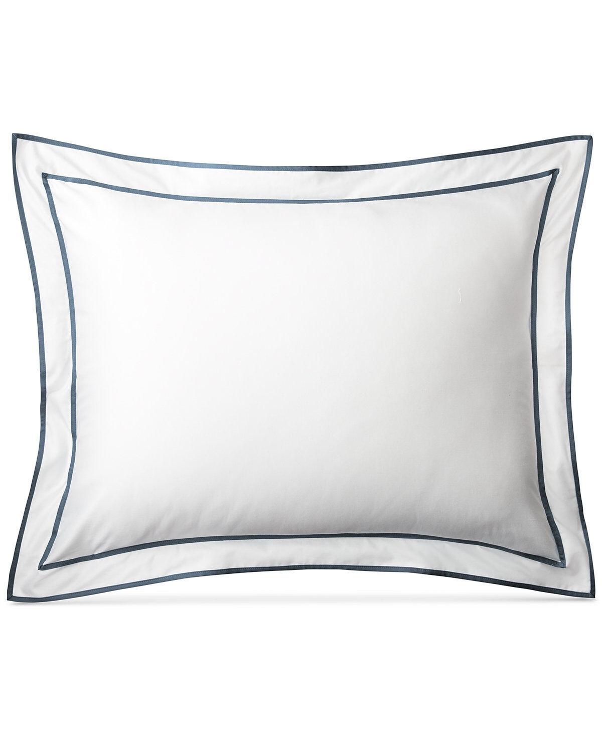 Ralph Lauren Home Spencer Sateen Border STANDARD Pillow Sham Fisher blueee  100