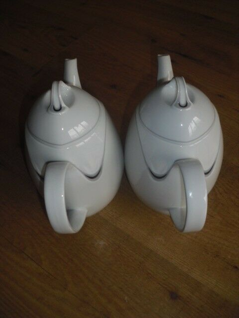 Kaiser Uppsala 2 2 2 Kaffeekannen neuwertig weiß grau Porzellan Set a377a3