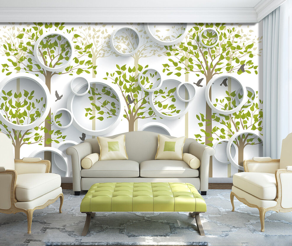 3D Leaves, round, bird 266 Wall Paper Print Wall Decal Deco Indoor Wall Murals