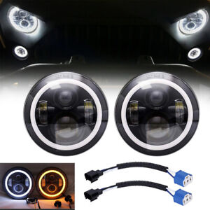 7-Inch-Round-LED-Headlights-Halo-Angle-Eyes-For-Jeep-Wrangler-JK-LJ-TJ-CJ-x2