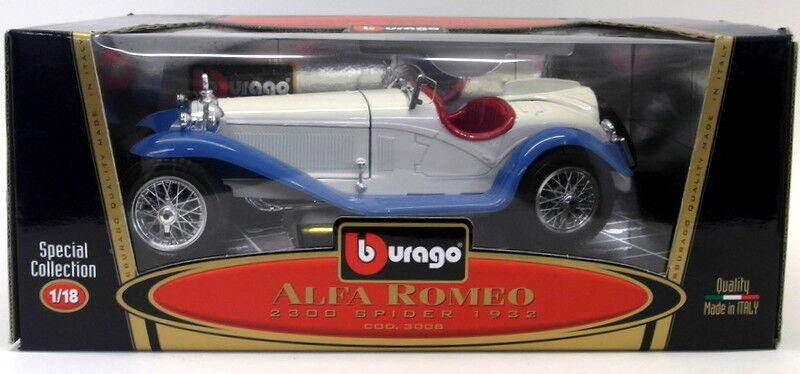 Burago 1 18 Scale Diecast 3008 Alfa Romeo 2300 Spider 1932 White bluee model car