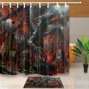 Image Is Loading Medieval Dragon Fir Fantasy Crazy Picture Bathroom Fabric