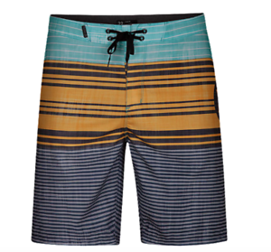 5d8a4688f9 Image is loading Hurley-Strands-Board-Shorts-Aurora-Green-Yellow-Stripes-