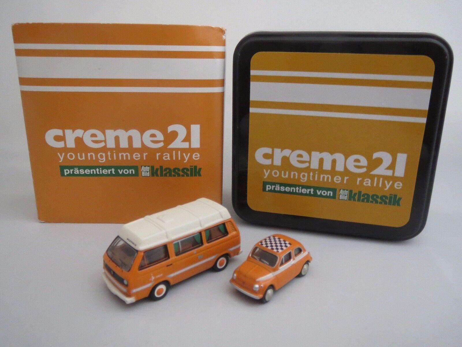 Bouèbe crème 21 Youngtimer Rallye Edition 2013  vw t3 & FIAT 500  1 87 Neuf dans sa boîte