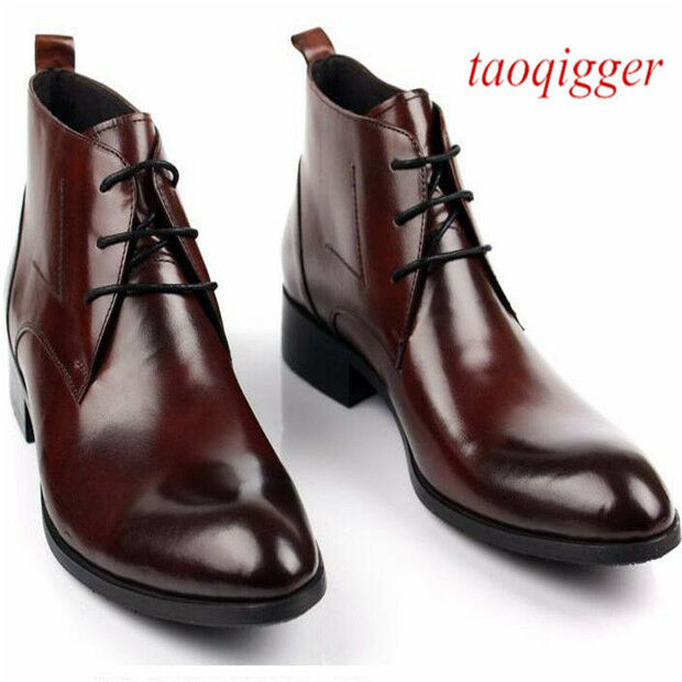 New Men 100% Real Leather Oxford Formal Dress shoes lace up high top Ankle Boots