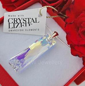 925-Sterling-Silver-Necklace-Crystals-From-Swarovski-QUEEN-BAGUETTE-Crystal-AB