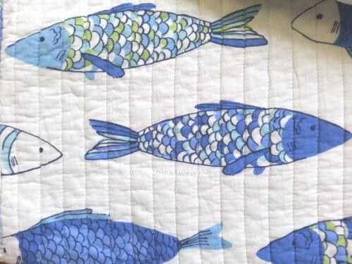 3-pc ☆ TROPICAL FISH ☆ Full//Queen Quilt Set Striped Catalina Beach House Coastal