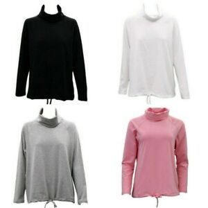 Women-039-s-Cotton-Long-Sleeve-Turtle-Neck-Skivvy-Top-High-Neck-w-Drawstring-Hem