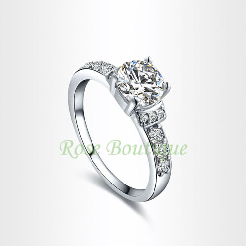 Shinning Crystal Engagement Promise Ring 18K White Gold Plated Size 6 7 8