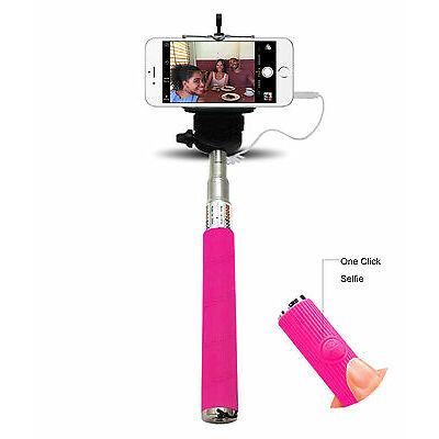 Monopod Selfie Stick Telescopic Wired Remote Mobile Phone holder For All Phones