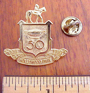 VINTAGE HOLLYWOOD PARK HORSE RACE TRACK 50TH ANNIVERSARY 1938-1988 PIN