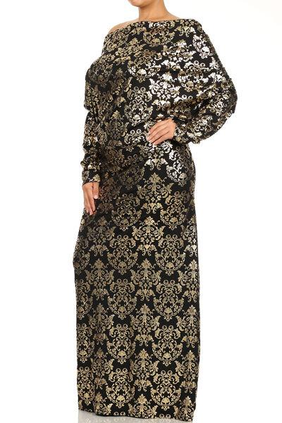 damen Gold Metallic Print Holiday Dress with Optional V Neck
